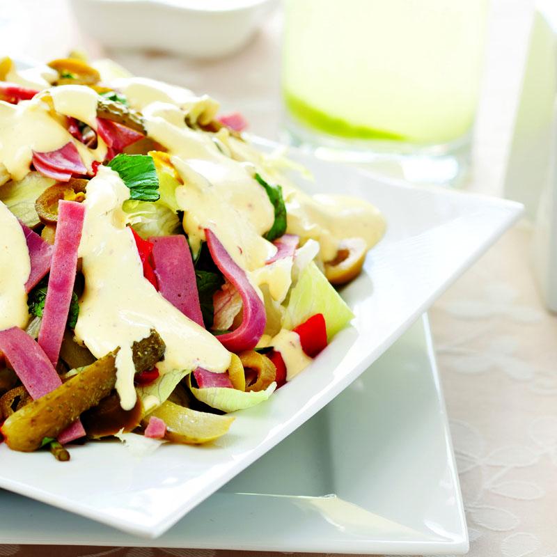 hardal soslu yoğurtlu marul salatası