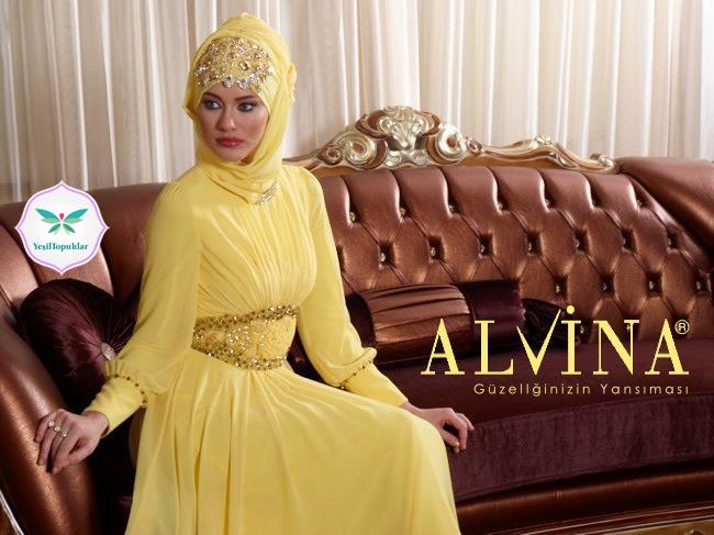 1221e74561938 Alvina 2013 Tesettür Abiye Elbise Modelleri