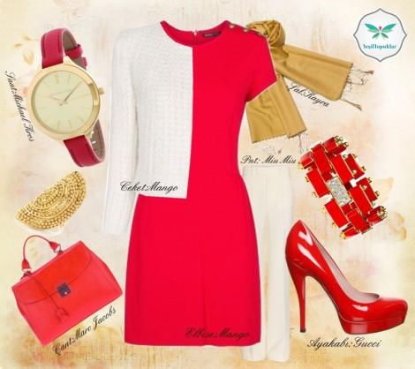 Mango Kırmızı Elbise ve Ceket Kombini