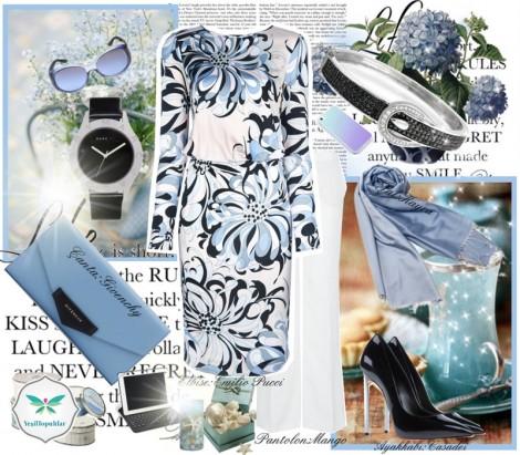Çiçek Desenli Mavi Elbise Kombini