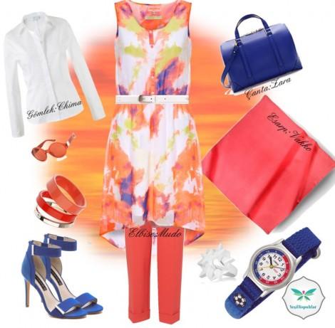 Renkli Yazlık Bir Elbise ve Kombini