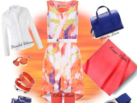 Rengarenk Bir Elbise ve Tablo Gibi Bir Kombin