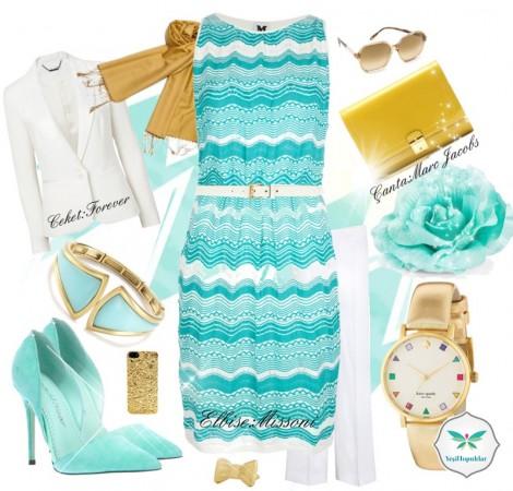 Mint Renkli Tesettür Elbise Kombini