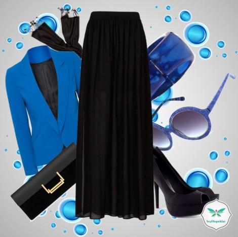 Siyah Mavi Etek Ceket Tesettür Kombini