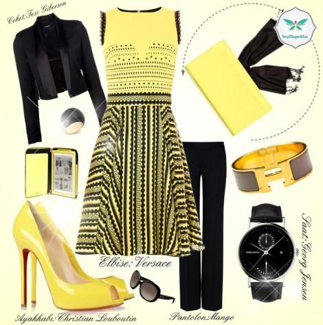 Siyah ve Sarı Renkli Elbise Ceket Kombini