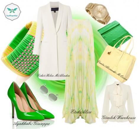 Yeşil ve Beyaz Renkli Yazlık Tesettür Kombin
