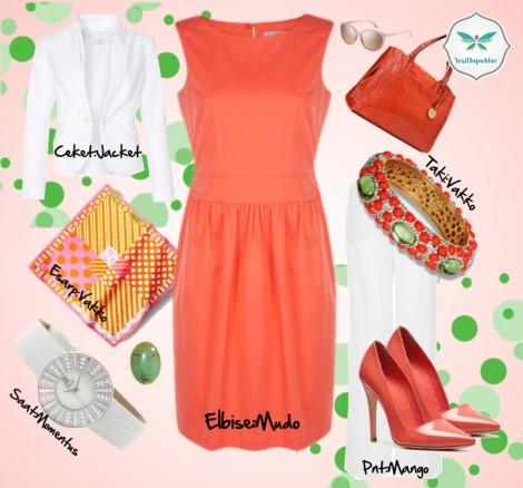 Turuncu Renkli Elbise ile Yazlık Kombin