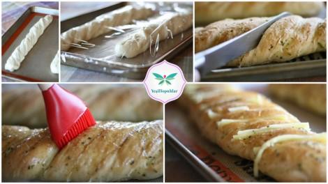 Hasselback sarımsak peynirli ekmek (4)