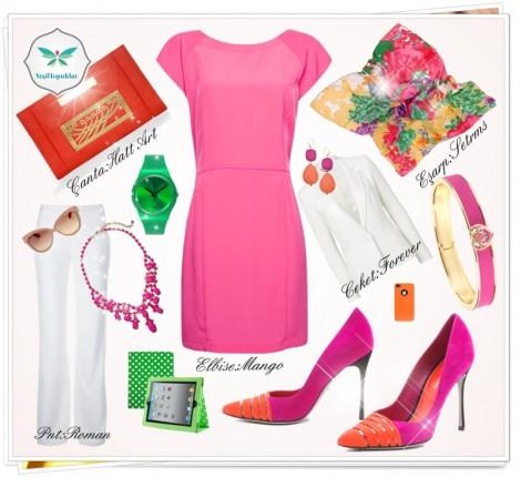 Şeker Pembesi Renkli Elbise Kombini