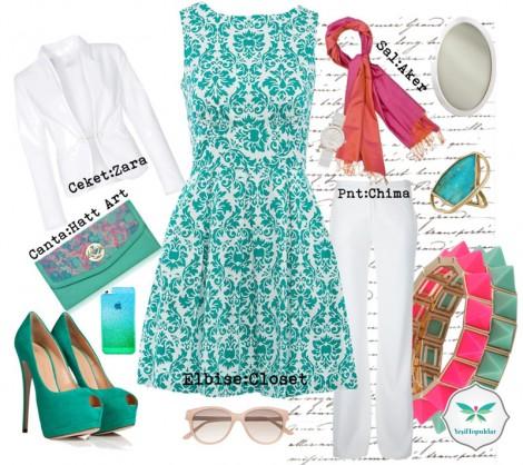 Yeşil ve Pembe Renkleriyle Yazlık Tesettür Kombin