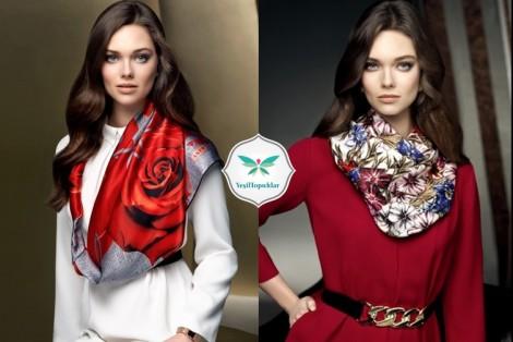 Aker Kırmızı Elbise ve Eşarp Modelleri