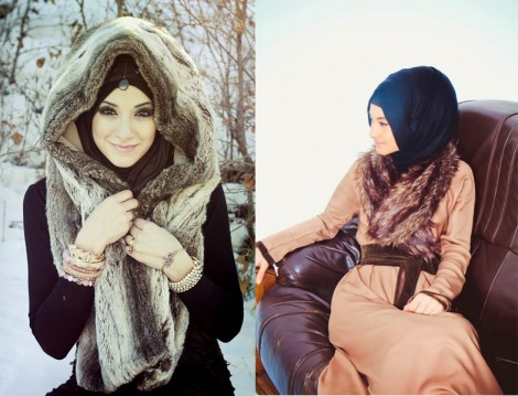 Tesettür Giyim Kürk Modelleri 2013