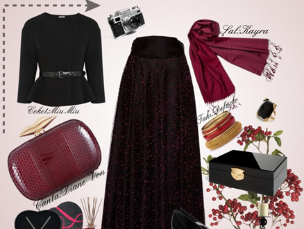 Sezonun Trend Rengi Bordo ve Siyah Kombin