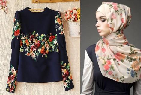 Tesettür Giyim Kombinleri Çiçekli Elbise Modelleri