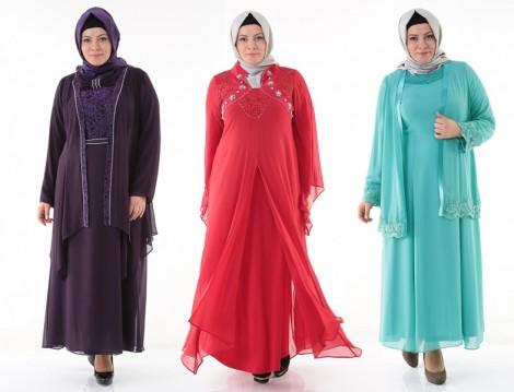 Büyük Beden Tesettür Abiye Elbise Modelleri 2014