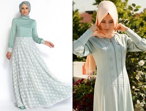 Su Yeşili Tesettür Kıyafet Modelleri