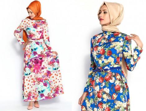 Yazlık Çiçekli Uzun Elbise Modelleri