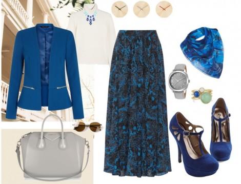 Mavi Renkli Sonbahar Tesettür Kombini