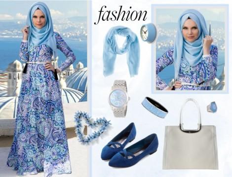 Mavi Tesettür Elbise Kombini
