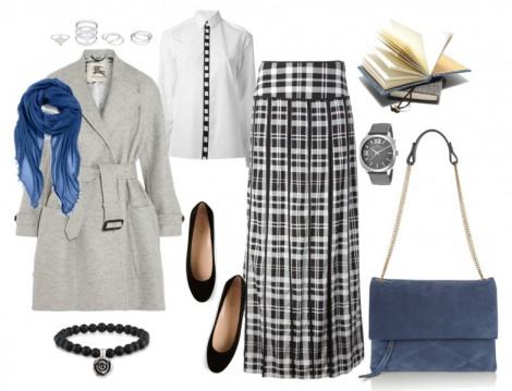 Resmi Ortamlarda Giyilen Kareli Etek Kombinleri
