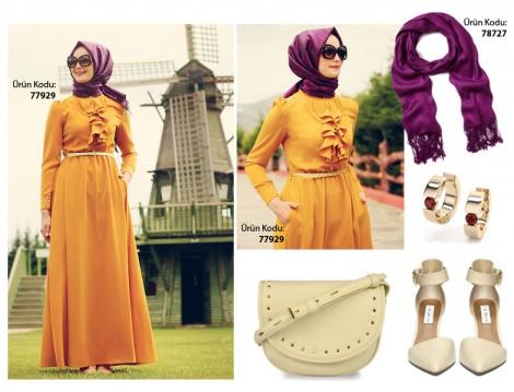 Sarı Renkli Uzun Elbise Kombini
