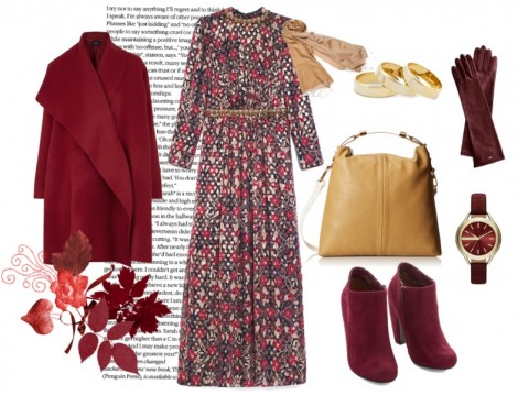 Kırmızı Çiçekli Elbise Kombinleri