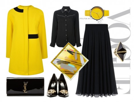 Siyah Uzun Etekle Sarı Kaban Kombini