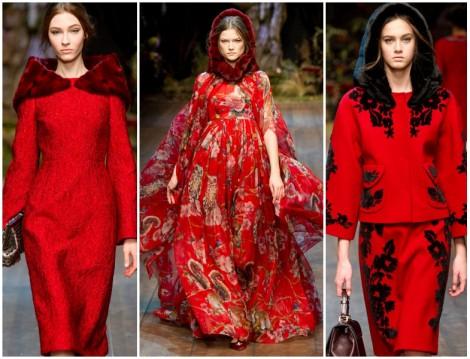 Dolce Gabbana 2014-2015 Sonbahar Kış Kırmızı Renk Giyim Modelleri