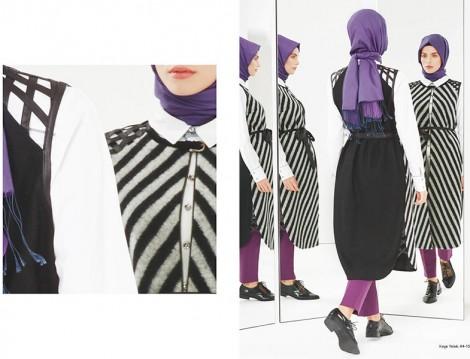 Kayra 2015 Siyah Beyaz Çizgili Yelek Modeli