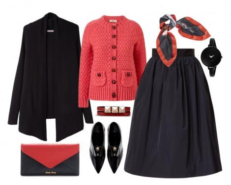 Siyah-Kırmızı Kış Kombini