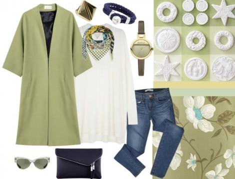 Yeşil Uzun Ceket Kombini