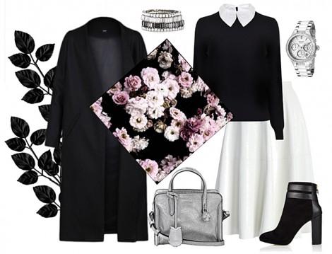Çiçekli Vintage Eşarpla Siyah Beyaz Kombinler