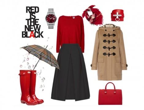 Kırmızı Yağmur Çizmeleriyle Kombin