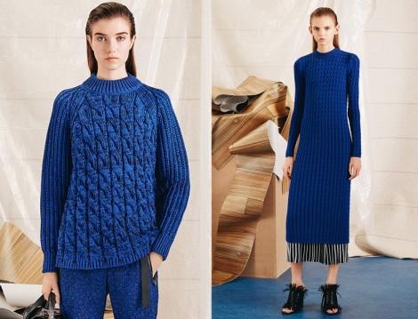 Mavi Kazak Ve Uzun Triko Elbise Modeli 2015