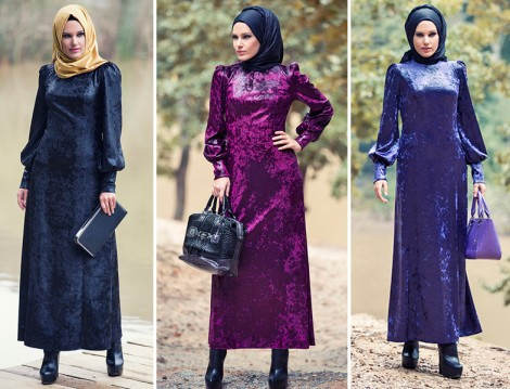Modanisa Mustafa Dikmen Kadife Elbise Modelleri