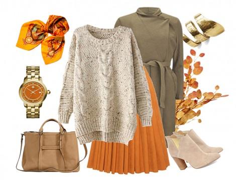 Portakal Renkli Pileli Etekle Kış Kombini