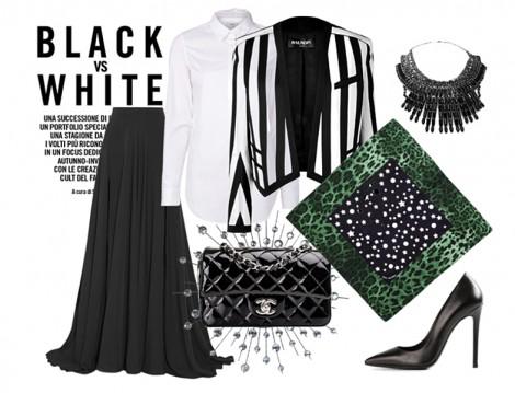 Zümrüt Yeşili Eşarpla Siyah Beyaz Kombinler
