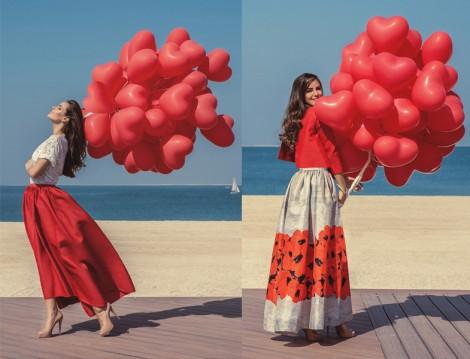 Tesettür Kırmızı Uzun Etek ve Elbise