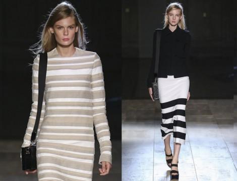 Çizgili Uzun Etek ve Elbise Modeli 2015