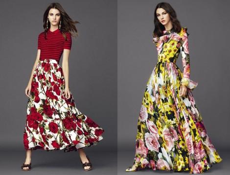 Uzun Çiçek Desenli Etek ve Elbise