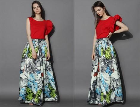Uzun Çiçekli Etek Modelleri 2015