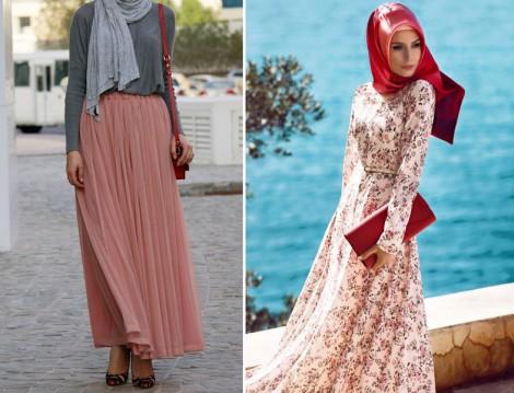 Pembe Elbise ve Etek Kombinleri