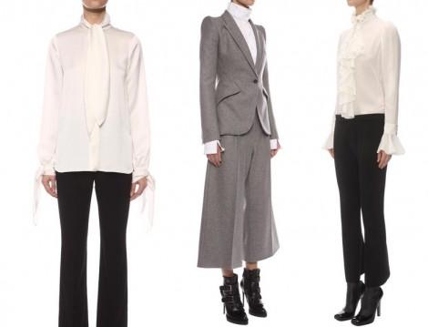 Alexander McQueen 2015-16 Sonbahar Kış Beyaz Gömlek Modelleri