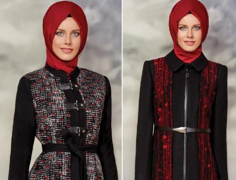 Zühre 2015-16 Sonbahar Kış Kırmızı-Siyah Pardesü Modelleri