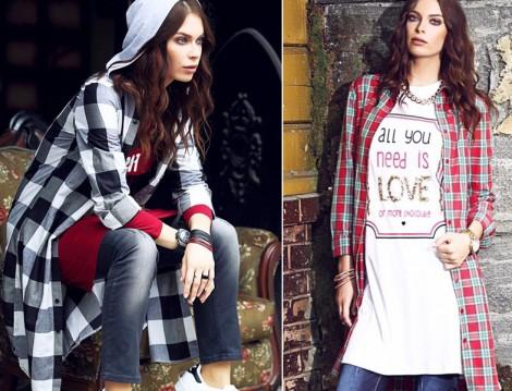 MoodBasic 2015-16 Ekose Gömlek ve Tunik Modelleri