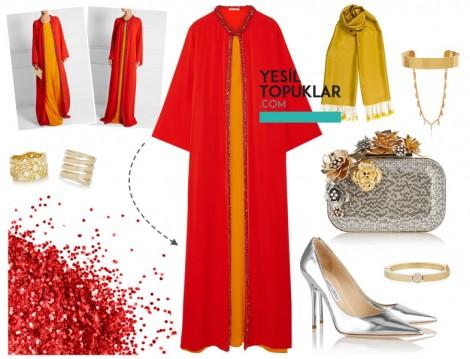 Kırmızı Abiye Elbise Kombini 2016