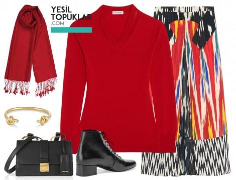 Kırmızı Tesettür Giyim Kombin Önerisi