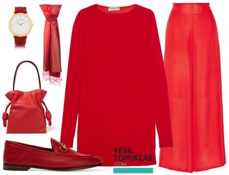 Kırmızı Tesettür Giyim Kombini 2016