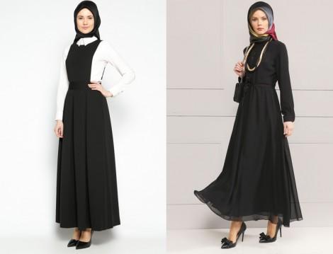 Siyah Tesettür Elbise Modelleri 2016