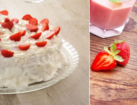 Çileklerle Süslenmiş Kremalı Kek Tarifi